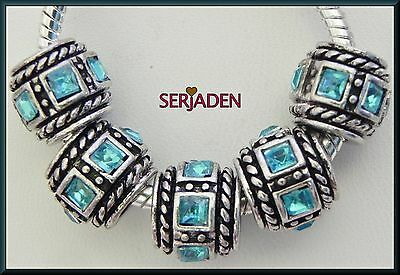 5 Aqua Square Beveled Stone Spacer Charms European Style 10*11 & 5 mm Hole R150