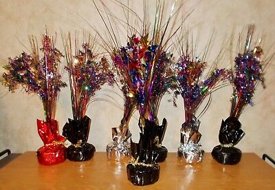 7 Balloon Weights/Holders & Sprigs - Happy Birthday & Stars - Red, Black,Silver ](Black Balloon Weights)