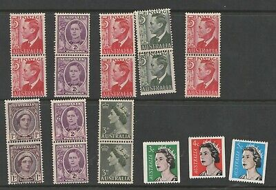 Australia small lot of KGVI and QEII coil stamps