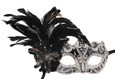 Mask Venice Colombine on edge silver black and Feathers Paper mache 22433