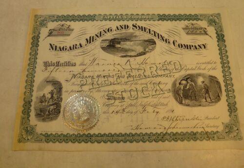 1891 NIAGARA MINING & SMELTING COMPANY SALT LAKE CITY UTAH STOCK #903