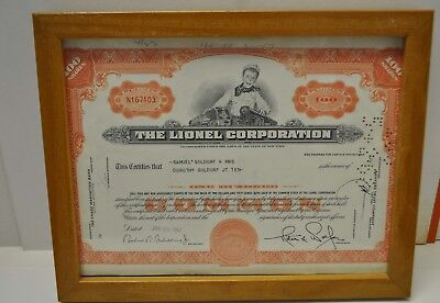 The Lionel Corporation 1967 Stock Certificate for 100 Shares Framed