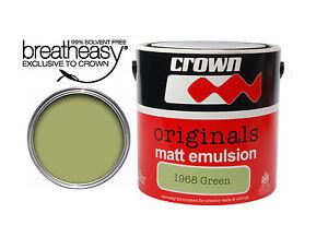 Crown Originals 1968 Green Matt Emulsion Paint 2.5L Vintage Retro Collection
