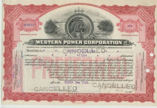 1926 Western Power Corporation Stock Certificate New York