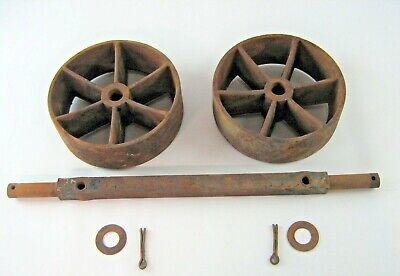 2 Antique Industrial Cart Cast Iron Spoked Wheels 7 78 X 2 12 Waxle