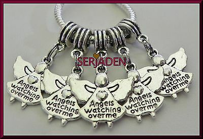 5 Angels Watching Over Me Dangle Charms European Style 20 * 35 & 5 mm Hole S107
