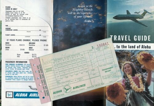 Vintage Aloha Airlines Travel Packet, Ticket Copy, Hawaii Guide