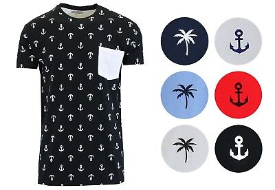 Mens Short Sleeve Pocket Tee Printed T-Sirt Crew Anchor Palm Tree More Colors