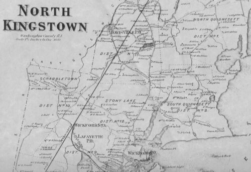 North Kingstown Allenton Wickford RI 1870 Map with Homeowners Names Shown