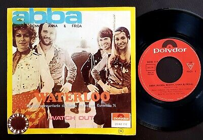 EUROVISION 1974 ABBA SINGLE MADE IN ANGOLA 45 PS 7 *WATERLOO* AFRICA