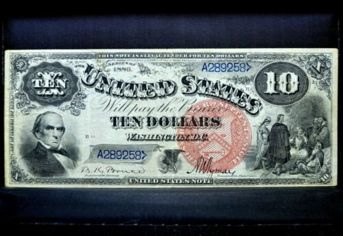 1880 $10 LEGAL TENDER NOTE ✪ VF VERY FINE ✪ US JACKASS L@@K NOW 258 ◢TRUSTED◣