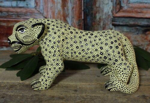 Lg Yellow Jaguar Figure Clay Handmade Mayan Amatenango Chiapas Mexican Folk Art