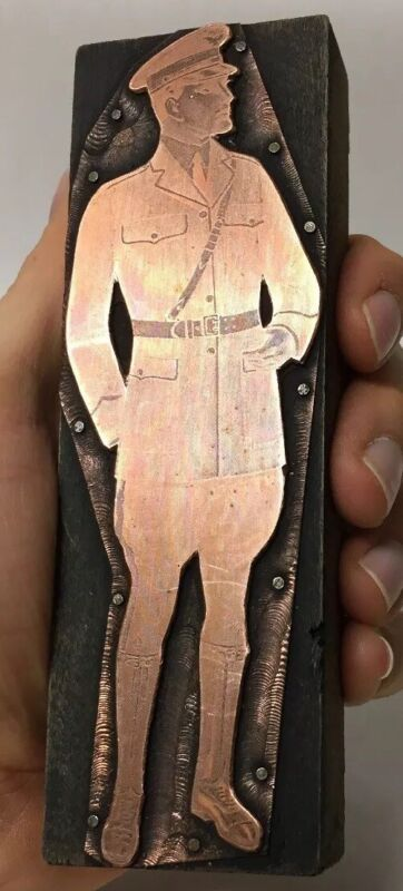 ANTIQUE WOOD COPPER PRINTING BLOCK M. C. LILLEY CO. UNIFORM MILITARY ADVERTISING