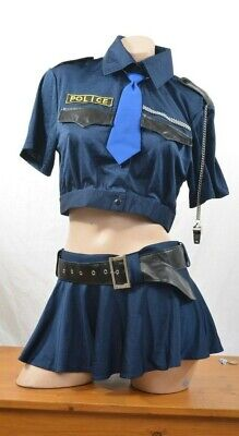 Cop Police Sexy Costume Mini Skirt Shirt Belt - Cop Kostüme Shirt