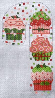 (Needlepoint Handpainted CHRISTMAS Danji Candy Cane Cupcakes Ornament 3x5)