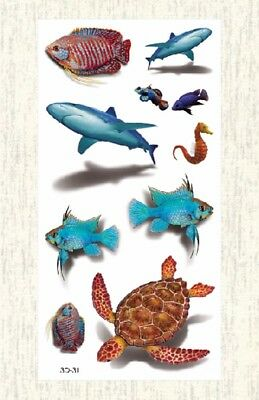 US SELLER, temporary tatoos 3D turtle fish sharp sea life temporary - Fish Tatoos