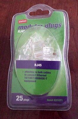 Staples Modular Plugs, RJ45, 22 in Pkg, Unused(opened pkg-3 removed), USA Seller