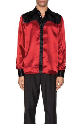 SSS World Corp Western Shirt Satin Black Red Long Sleeve Luxury L NWOT $225