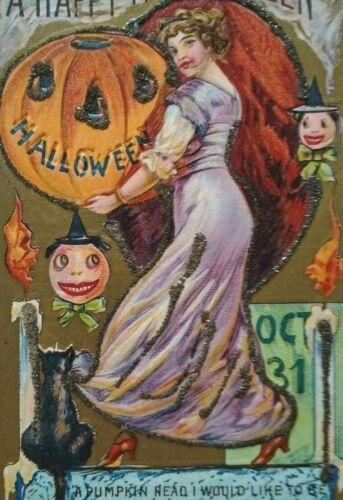 Halloween Postcard Pumpkin Head Goblin Black Cat Embossed Art Vintage Series 552
