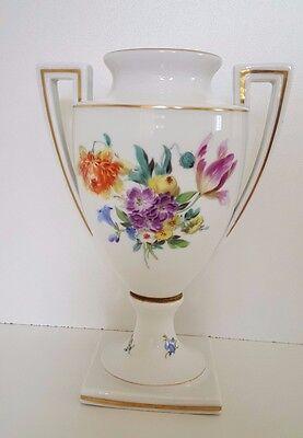 """1000 Jahre """" Stadt Meissen """" Amphore Pokal 20 cm Henkelvase Blumen Goldrand 1929"""