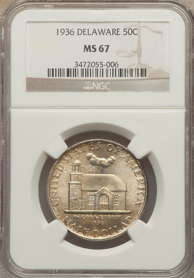 Click now to see the BUY IT NOW Price! 1936 50C DELAWARE TERCENTENARY SILVER COMMEMORATIVE NGC MS67