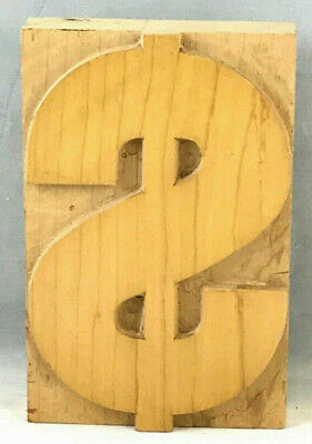 Vintage Wood Letterpress Print Type Dollar Sign Printers Block Cut 5