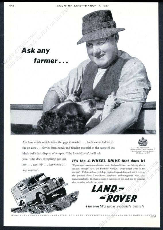 1957 Land Rover SUV farmer and English Setter photo UK vintage print ad