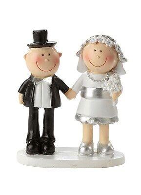 Mini Silber Paar Brautpaar Hochzeitspaar lustig Tortenfigur Silberhochzeit Figur