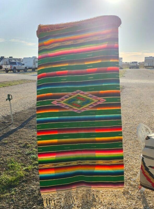 Medium Sized Green Vintage Mexican Serape Saltillo Rug Blanket Textile