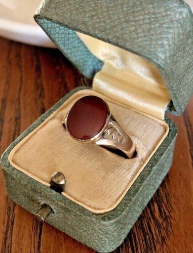 CARNELIAN Antique Art Nouveau Victorian 10k Gold Signet Ring Cabochon Cut Chunky