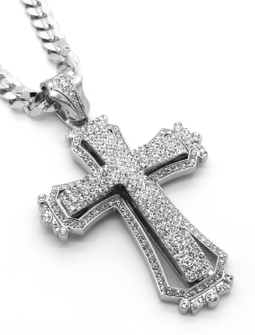 Mens large hollow cross silver iced out pendant