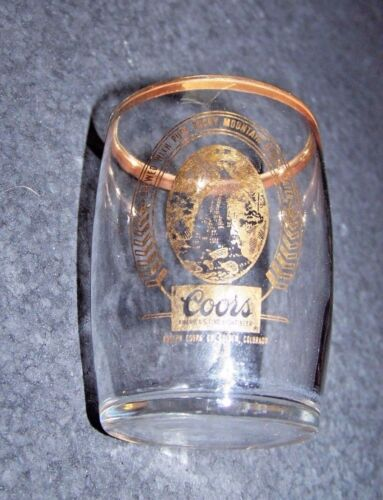 Coors small glass gold color design waterfall logo  3.1""