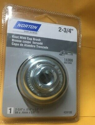 Norton 2-34 Knotted Cup Wire Brush With 58-11 Thread For Angle Grinder
