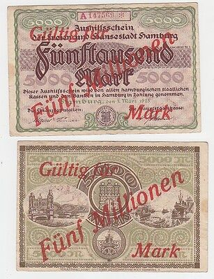 5 Millionen Mark Banknote Aushilfsschein Stadt Hamburg 1923 KN 6stellig (116122)