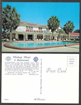 Old Florida Hotel Postcard - Marianna - Malloy's Motel and Restaurant