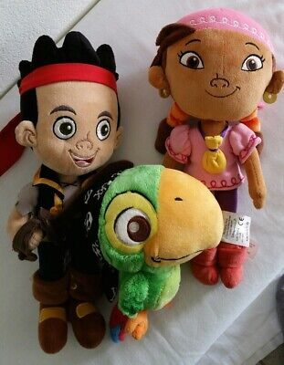 Disney Plush Izzy, Jake & Skully the Parrot from Jake and the Neverland Pirates - Disney Izzy