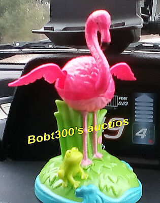 (Set of 5) SOLAR DANCING PINK FLAMINGO'S w/FROG 🐸 Bobble Car Dash Office
