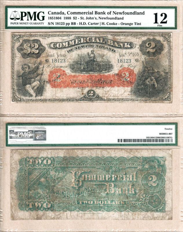 1888 $2 Orange Tint Commercial Bank of Newfoundland PMG Fine12