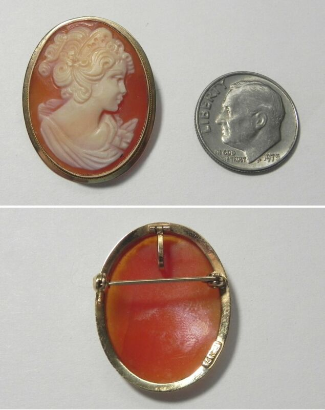 C1726 Vintage 1950s 14K Solid Yellow Gold Hand Carved Shell Cameo Pendant/Pin
