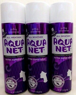 3 Aqua Net Professional Hairspray Unscented All Weather Extra Super Hold 11 Oz