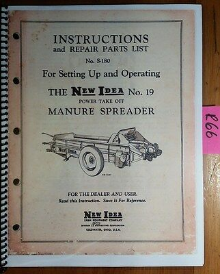 New Idea 19 Manure Spreader Setting Up Operator Parts Manual S-180 857