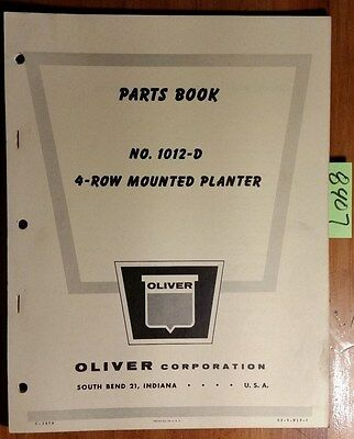 Oliver 1012-d 4 Row Mounted Planter Parts Book Catalog Manual S2-9-r10-1