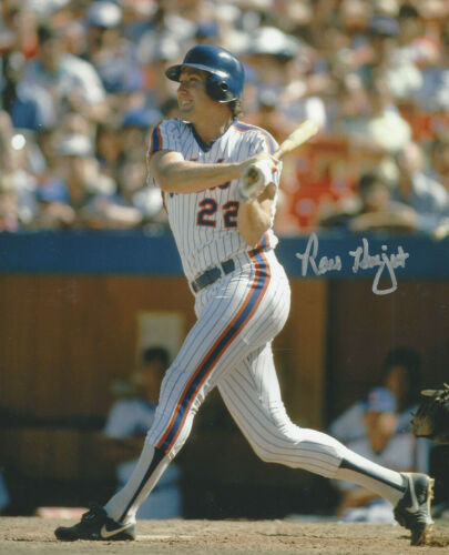 1986 New York  Mets  Ray Knight  autographed 8x10 color action photo