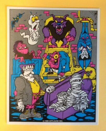 Vintage 80s Applause Monsters HALLOWEEN Sticker Sheet Ghost Mummy Frankenstein