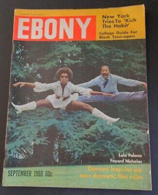 EBONY Sept 1969 Black Magazine LOLA FALANA Cover LEE ELDER Golfer JAMES BROWN ad