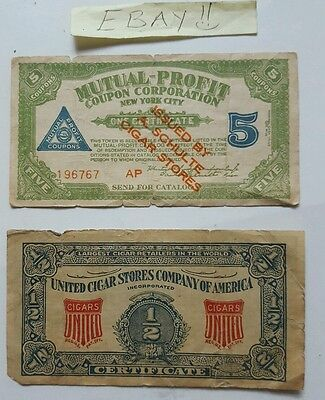 Cigar Stores Company Mutual-Profit Coupon Corp New York City United Lot of 2