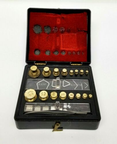 Vintage OHAUS Apothecary Scale Weight Set Brass Ounces and Grams