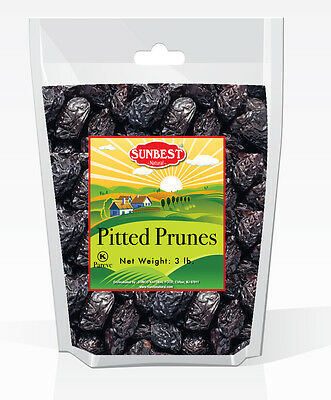 SUNBEST Pitted Prunes 3 Lbs, Unsulphured in Resealable Bag (48 Oz)