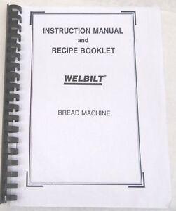 welbilt bread machine maker manual abm350 abm500 abm550 abm600 abm2100 abm2200t ebay Welbilt Bread Machine Recipe Book 4900 Welbilt Bread Machine Recipe