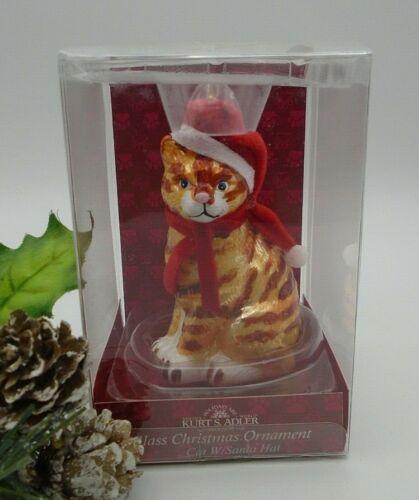 Pet Parade & Kurt Adler Tabby Kitty Cat with Santa Hat Glass Christmas Ornament